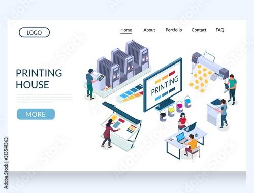 Fotografija Printing house vector website landing page design template