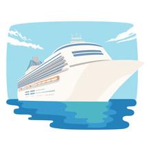 船のイラスト。広い世...