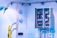 Installation Of The Electric Network At The Enterprise. Electric Shield, Wires And Cable Channels. The Equipment Of The Switchboard. Strip The Cable Channels For The Wires. Electric Concept.