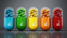 Various Vitamin B Pills Standi...