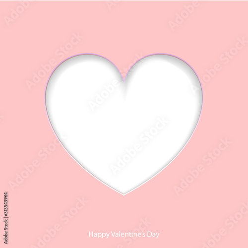 PrintValentine's day card with paper cut of heart. Vector.