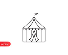 Circus Tent Line Icon With Mod...