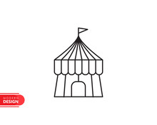Circus Tent Line Icon With Modern Design, Isolated On White Background. Flat Style For Graphic Design Template. Suitable For Logo, Web, UI, Mobile App. Vector Illustration
