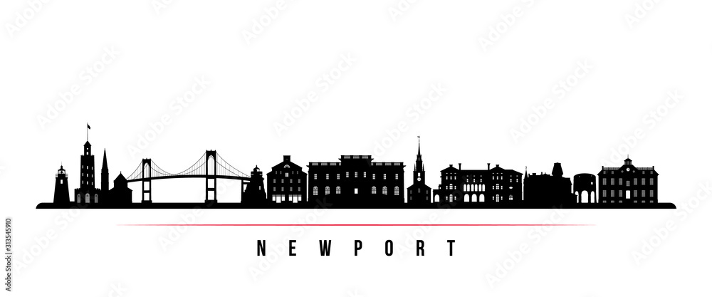 Fototapeta Newport skyline horizontal banner. Black and white silhouette of Newport, Rhode Island. Vector template for your design.