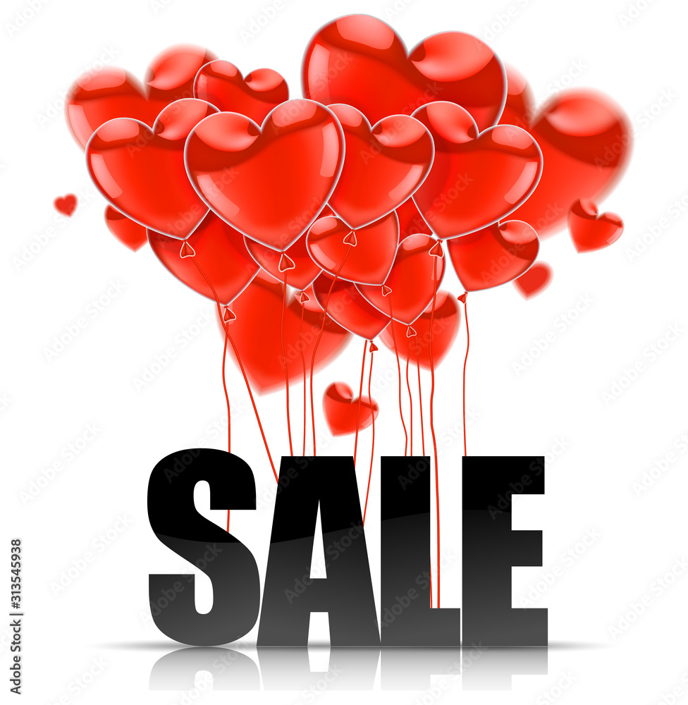 Fototapeta Valentines Day. Advertising sales. Black SALE word on a background of red balloons in the shape of a heart. Vector illustration.