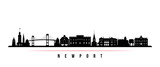 Newport skyline horizontal banner. Black and white silhouette of Newport, Rhode Island. Vector template for your design.