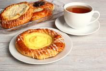 Danish Pastry With Custard Fil...