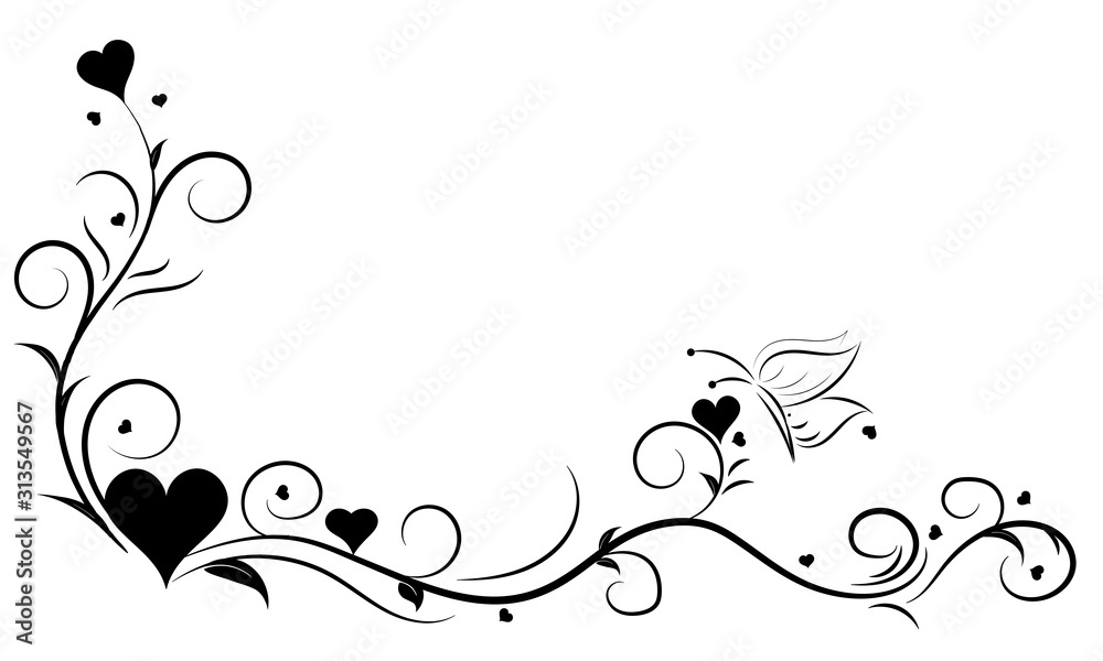 Fototapeta Hand Drawn floral element with heart and butterfly,Love elements,floral swirl design, concept for valentine