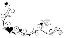 Hand Drawn Floral Element With Heart And Butterfly,Love Elements,floral Swirl Design, Concept For Valentine