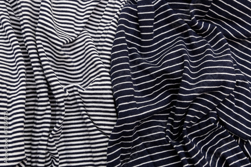 Striped linen fabric dark blue and white