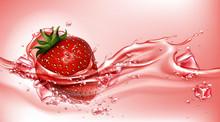 Strawberry With Juice Splash, ...