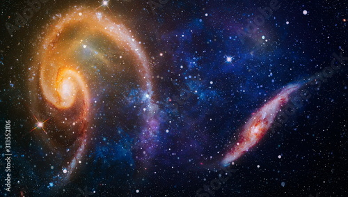 star particle motion on black background, starlight nebula in galaxy at universe Space background Canvas Print