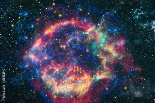 Photo star particle motion on black background, starlight nebula in galaxy at universe Space background