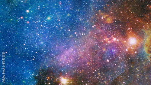 Obraz Far being shone nebula and star field against space. Starfield stardust and nebula space. Galaxy creative background. Elements of this image furnished by NASA. - fototapety do salonu