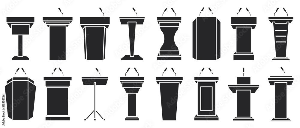 Fototapeta Podium of tribune black vector illustration on white background . Rostrum and podium set icon.Isolated vector illustration icon tribune with microphone.
