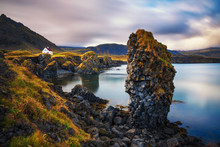 Sea Shore In Iceland With Clif...