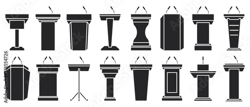 Obraz Podium of tribune black vector illustration on white background . Rostrum and podium set icon.Isolated vector illustration icon tribune with microphone. - fototapety do salonu