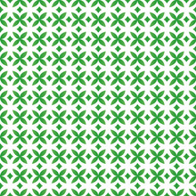 Diamond Seamless Geometric Pattern Vector. Decorative Green Diamonds And Flowers On Isolated White Background. Design For Fabric, Ceiling, Texture, Wallpaper, Background, Backdrop.
