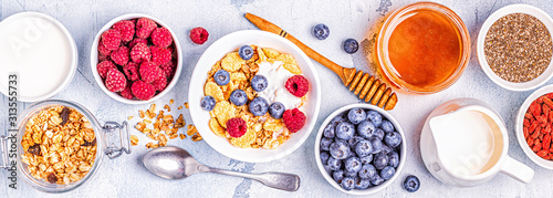 Obraz Healthy breakfast, muesli, cereal with fruit. - fototapety do salonu