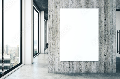 Contemporary office interior with empty poster - 313556773