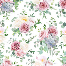 Pattern Arranged From Dusty Pink, Creamy White Antique Rose