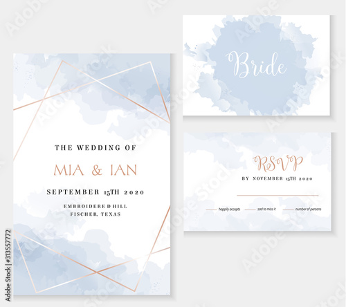 Cuadros en Lienzo Stylish dusty blue and gold geometric vector design cards.