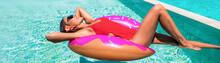 Summer Swimming Pool Fun Woman...