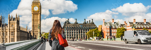 Obraz London city commuters walking by Westminster Big Ben people lifestyle. Tourist woman commuting in the morning banner panorama. - fototapety do salonu