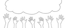 Doodle Hands Up. Sketch Style Crowd, Party, Sale Concept. Hand Drawn Vector Elements