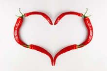 Red Chili Pepper Heart On Whit...