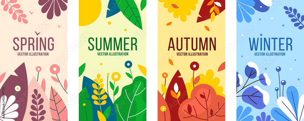 Seasons elements vector set. Social backgrounds, cover design templates, banners with leaves and herbs. <span>plik: #313560706 | autor: Анна Склярова</span>