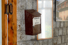 Wooden Suggestion Or Complaint Box Or Letter Box Mounting On Doorway Wall Of A Tourist Resort Hotel Reception Home Office To Lock And Secure Suggestions Ballots Mails Of Customer Service Feedback.