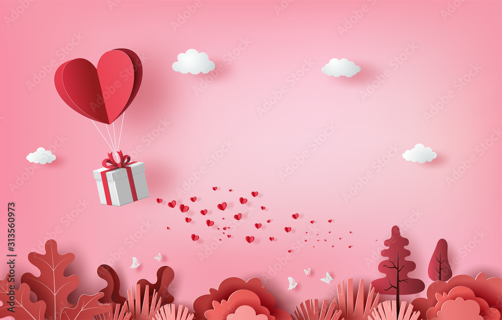 Fototapeta Gift box with heart balloon floating it the sky, Happy Valentine's Day banners, paper art style.