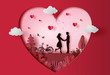 Young couple holding hands in park with many heart floating, paper art style.