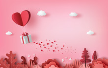 Gift Box With Heart Balloon Fl...