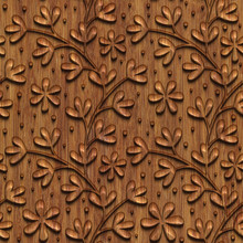 Carved Flowers Pattern On Wood...