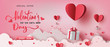 Gift boxes with heart balloon floating it the sky, Happy Valentine's Day banners, paper art style.