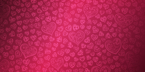 Background of big and small hearts with curls in red and pink colors. Illustration on Valentine's day.