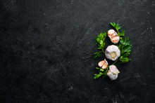 Fresh Parsley And Garlic On A Dark Background. Vegetables. Top View. Free Space For Your Text.