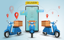 Online Delivery Service By Scooter. Shopping Website On A Mobile. Food Order Concept. Web Banner, App Template. Vector Illustration
