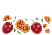 Fresh Tamarillo Fruit With Lea...