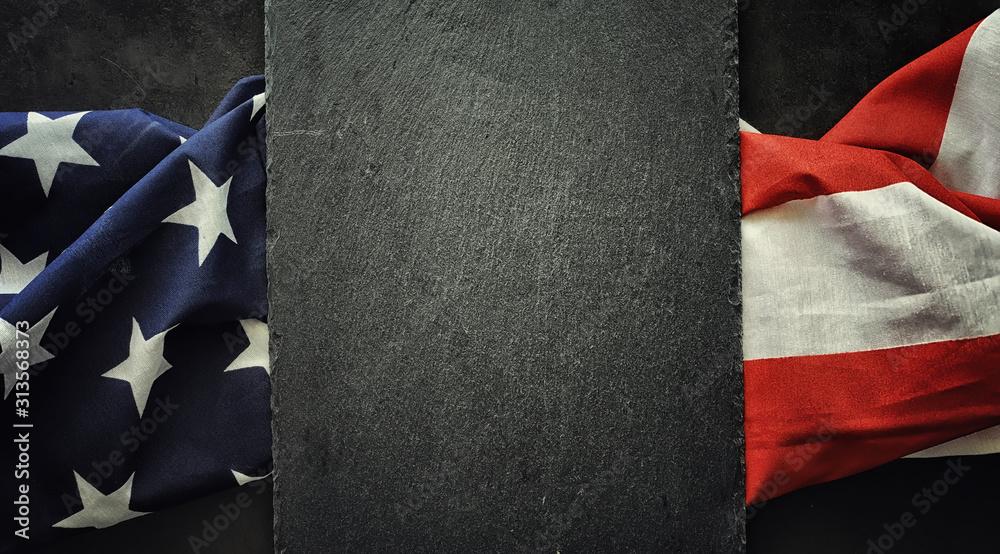 Obraz American flag on a black background. Space for text. fototapeta, plakat