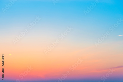 Sunset or sunrise colorful pink, red, blue and orange beautiful sky