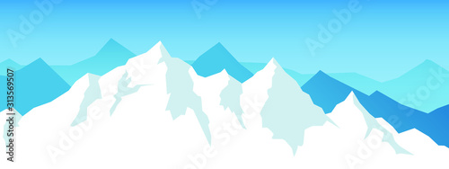 Vector snow mountains background. Winter mountain range. Canvas Print