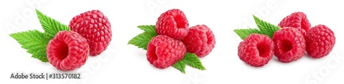 Ripe raspberries with leaf isolated on a white background, Set or collection - 313570182