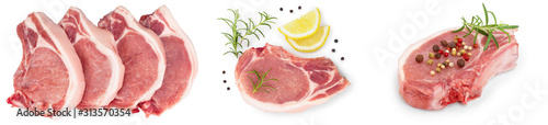Fotografía  sliced raw pork meat isolated on white background