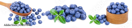 Photo fresh blueberry with leaves isolated on white background closeup