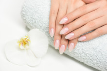 Nails Manicure With File. Woman Beautiful Nail Care. After Filling.