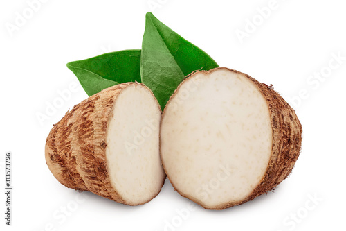 fresh taro root half with leaf isolated on white background Canvas Print