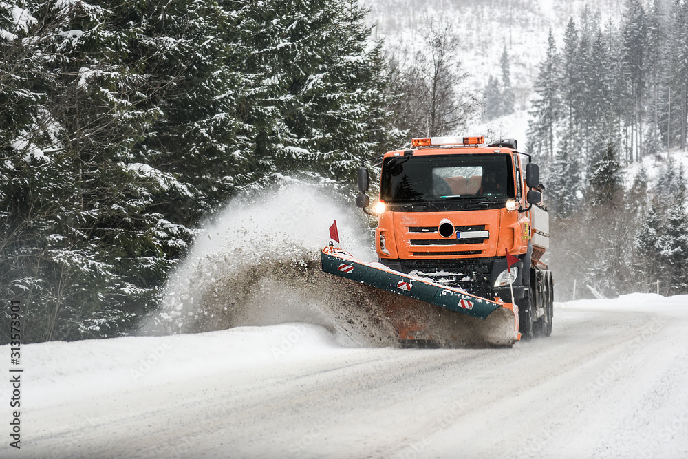 Fototapeta Snow plow truck, Winter highway maintenance